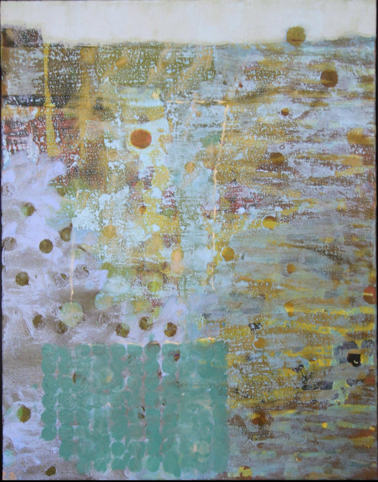 Christine Averill-Green Abstract Painting - 'Head Above Water', Contemporary Geometric Abstract Mixed Media Oil Painting