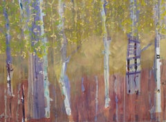 """Treehouse in the Birches"". Contemporary Transitional Landscape Oil Painting"