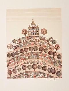 Montmartre - Original Lithograph by Christine Chagnoux - 1960s