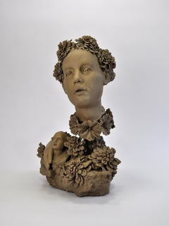 BLOOMING BUST- ceramic sculpture of woman with flowers