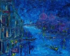 Grand canal de nuit à Venise, Painting, Oil on Canvas