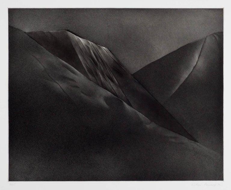 Mont et Mervale (Mountains and Wonder) - Black Landscape Print by Christine Ravaux