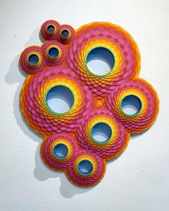 Double Pink Pentuple, Acrylic on Lasercut Wood Wall Sculpture
