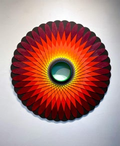 Flame, Acrylic on Wood, Wall sculpture by Christine Romanell