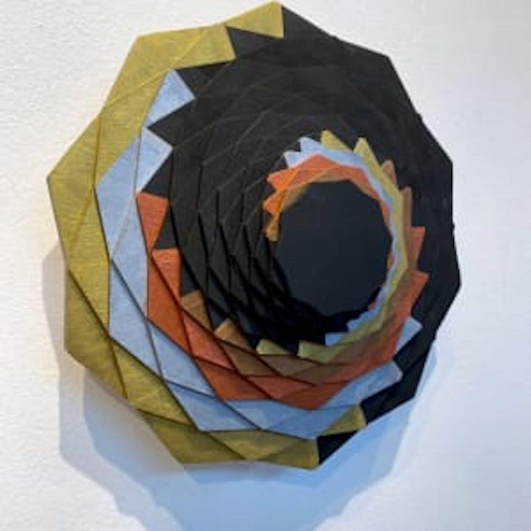 Gilded Spiral, Brown, silver, orange, gold swirl geometric wall sculpture - Sculpture by Christine Romanell
