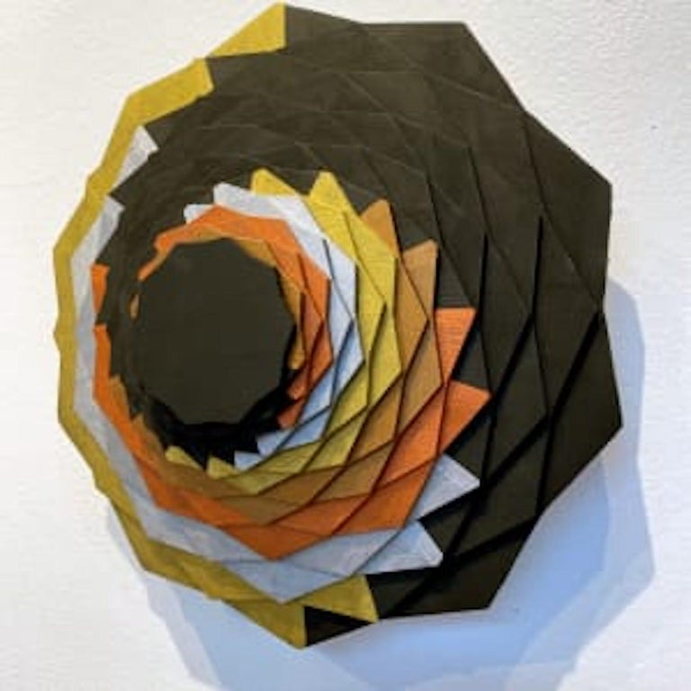 Gilded Spiral, Brown, silver, orange, gold swirl geometric wall sculpture - Gray Abstract Sculpture by Christine Romanell