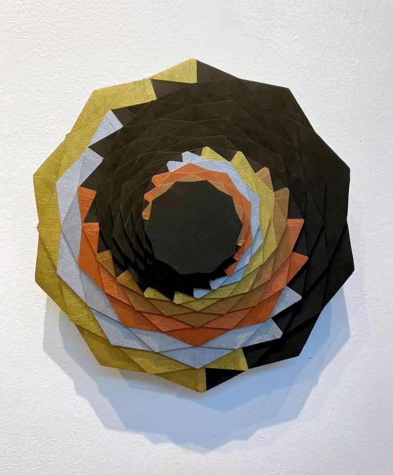 Christine Romanell Abstract Sculpture - Gilded Spiral, Brown, silver, orange, gold swirl geometric wall sculpture
