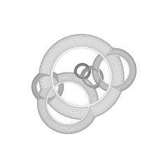 Wide Ring Interlocken Print, Black and White geometric by Christine Romanell