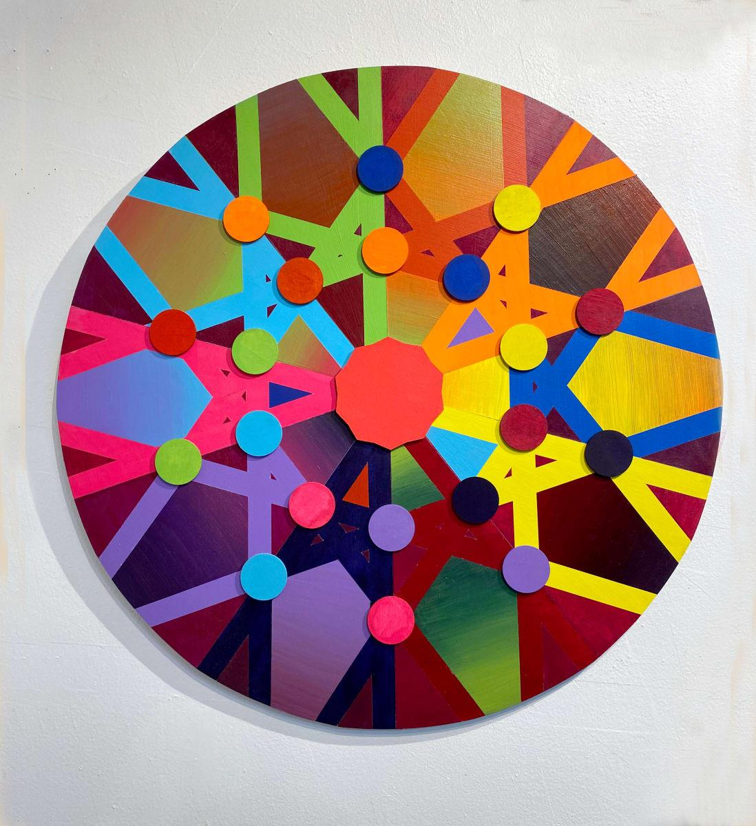 Allotropy, Acrylic on Wood, Wall sculpture by Christine Romanell