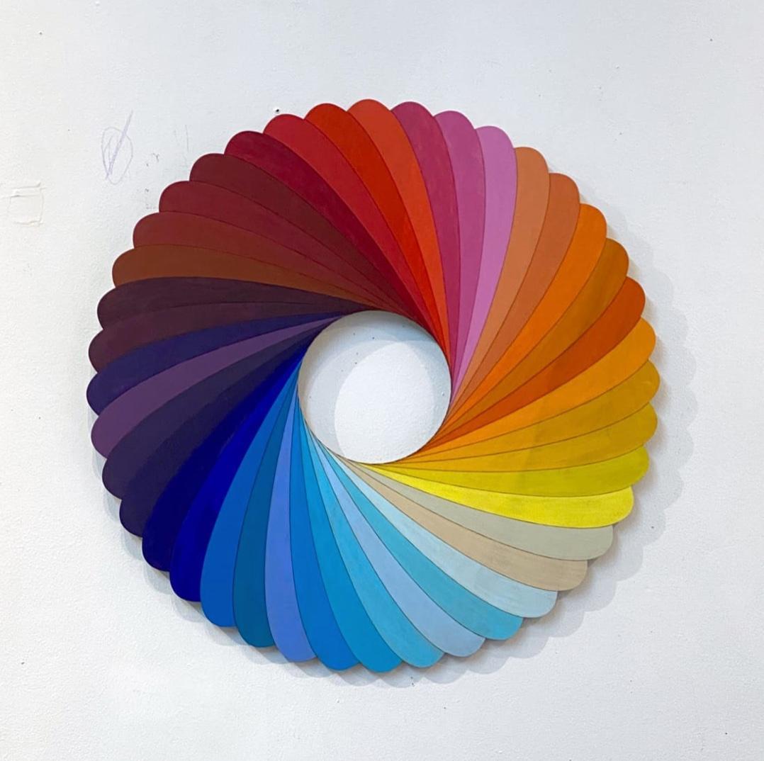 Spectrum, multi-color acrylic, circular wood wall sculpture, Christine Romanell