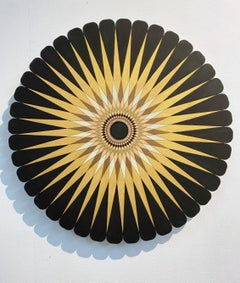 Starburst 3, Black, gold and silver circular painting by Christine Romanell