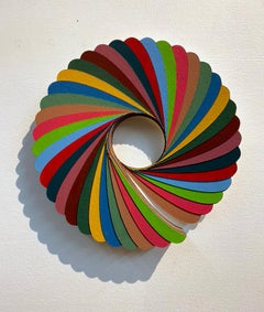 Swirl, Gouache on paper, circular wall sculpture by Christine Romanell