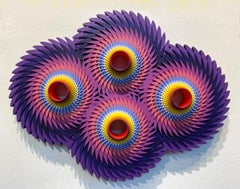 Tempesta Violet, Wall sculpture Acrylic on Wood by Christine Romanell