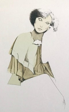 CONTEMPLATION Signed Lithograph, Poetic Female Portrait, Pastel Colors