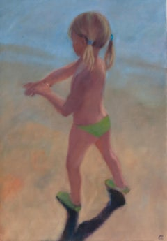 ''Little Girl at the Beach'' Contemporary Painting of a Little Girl on the Beach