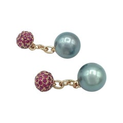 Petronilla Ruby South Sea Pearl 18 Karat Gold Cufflinks Made in Italy