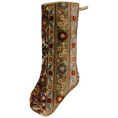 Christmas Stocking One of a Kind Made of a 1970s Hereke Silk Rug