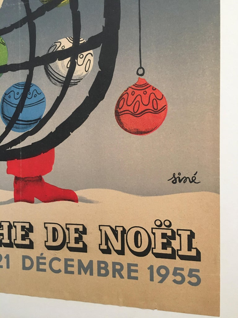 Art Deco Christmas Themed 'Loterie Nationale', Original Vintage Lithograph Poster, 1955 For Sale