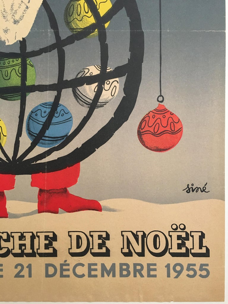 French Christmas Themed 'Loterie Nationale', Original Vintage Lithograph Poster, 1955 For Sale