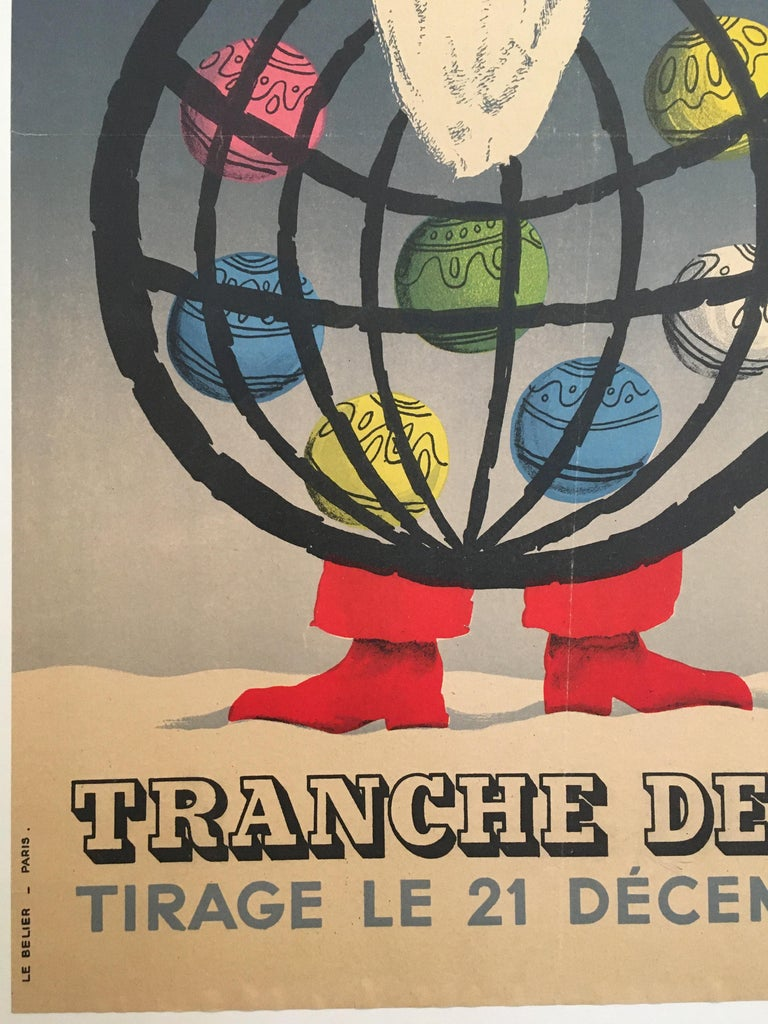 Christmas Themed 'Loterie Nationale', Original Vintage Lithograph Poster, 1955 In Fair Condition For Sale In Melbourne, Victoria