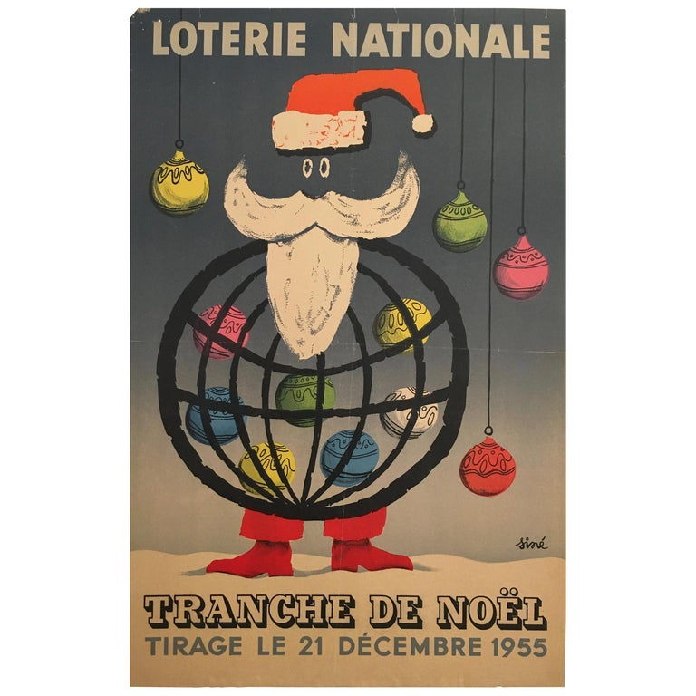 Christmas Themed 'Loterie Nationale', Original Vintage Lithograph Poster, 1955 For Sale