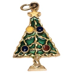 Christmas Tree Charm with Colored Enamel in 14 Karat Yellow Gold