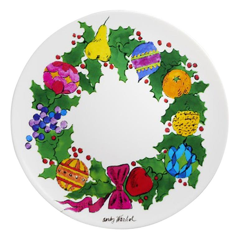 Christmas Wreath Plate after Andy Warhol For Sale