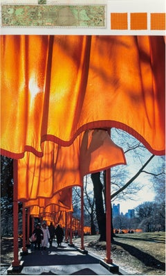 Christo and Jeanne-Claude 'The Gates' Signed Collage Print and Fabric Samples