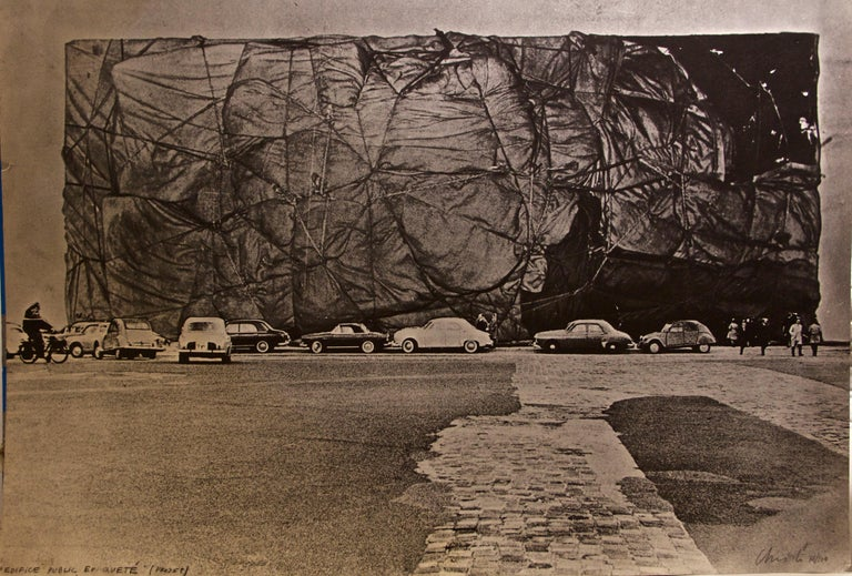 Christo and Jeanne-Claude Landscape Photograph - Project for a Public Building's Packaging - 1971 ca.