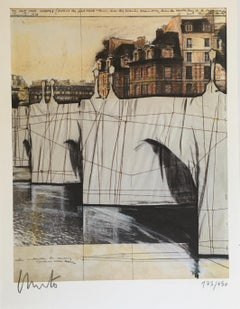 Christo et Jenne Claude, Paris! The Pont-Neuf Wrapped, Signed Print and Catalog