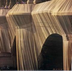Christo Photograph, Wrapped Pont Neuf, Paris France Hand Signed Photo Print