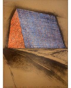 Christo, Texas Mastaba, screenprint, collage, 1975
