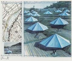 Christo 'The Umbrellas' Signed Print (Japan Blue)
