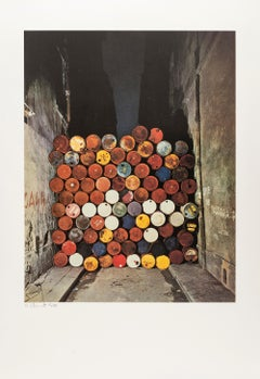 Wall of Oil Barrels -- Lithograph, Contemporary Art by Christo & Jeanne-Claude