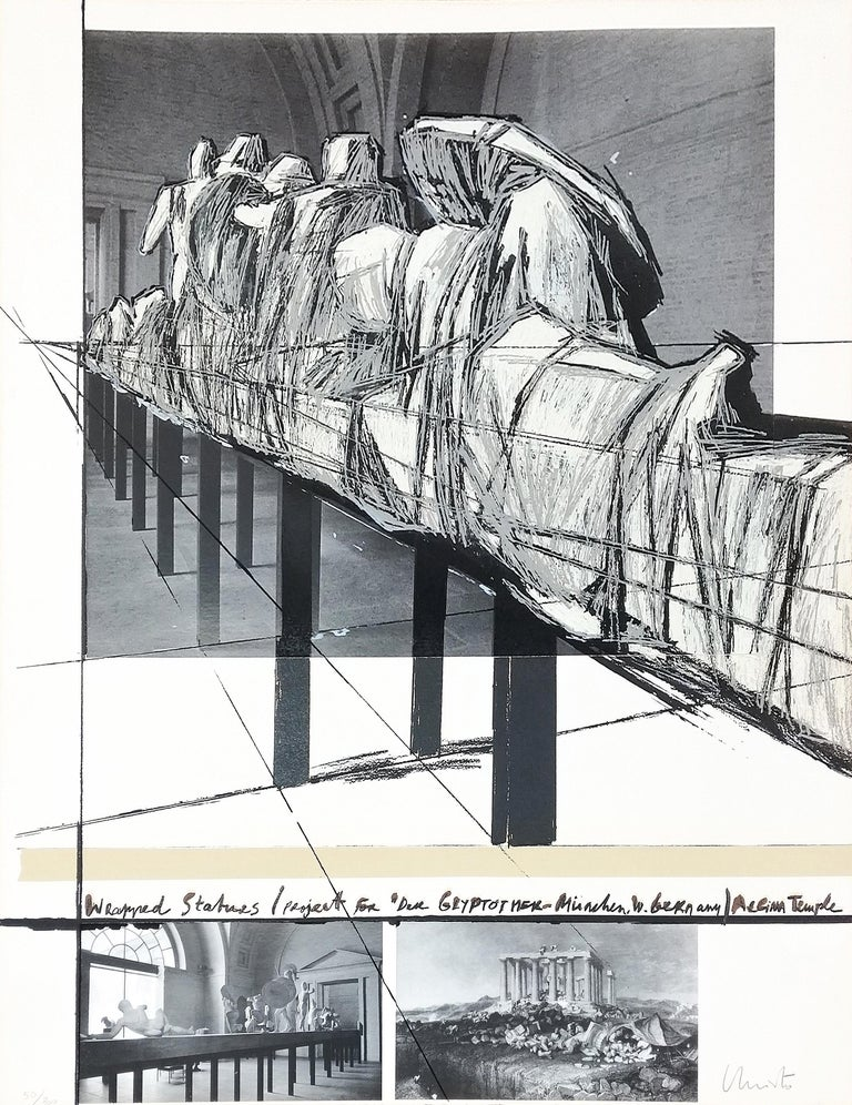 Christo and Jeanne-Claude Landscape Print - WRAPPED STATUES