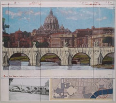 Ponte Sant'Angelo -Christo, Contemporary, 21st Century, Collage, Limited Edition