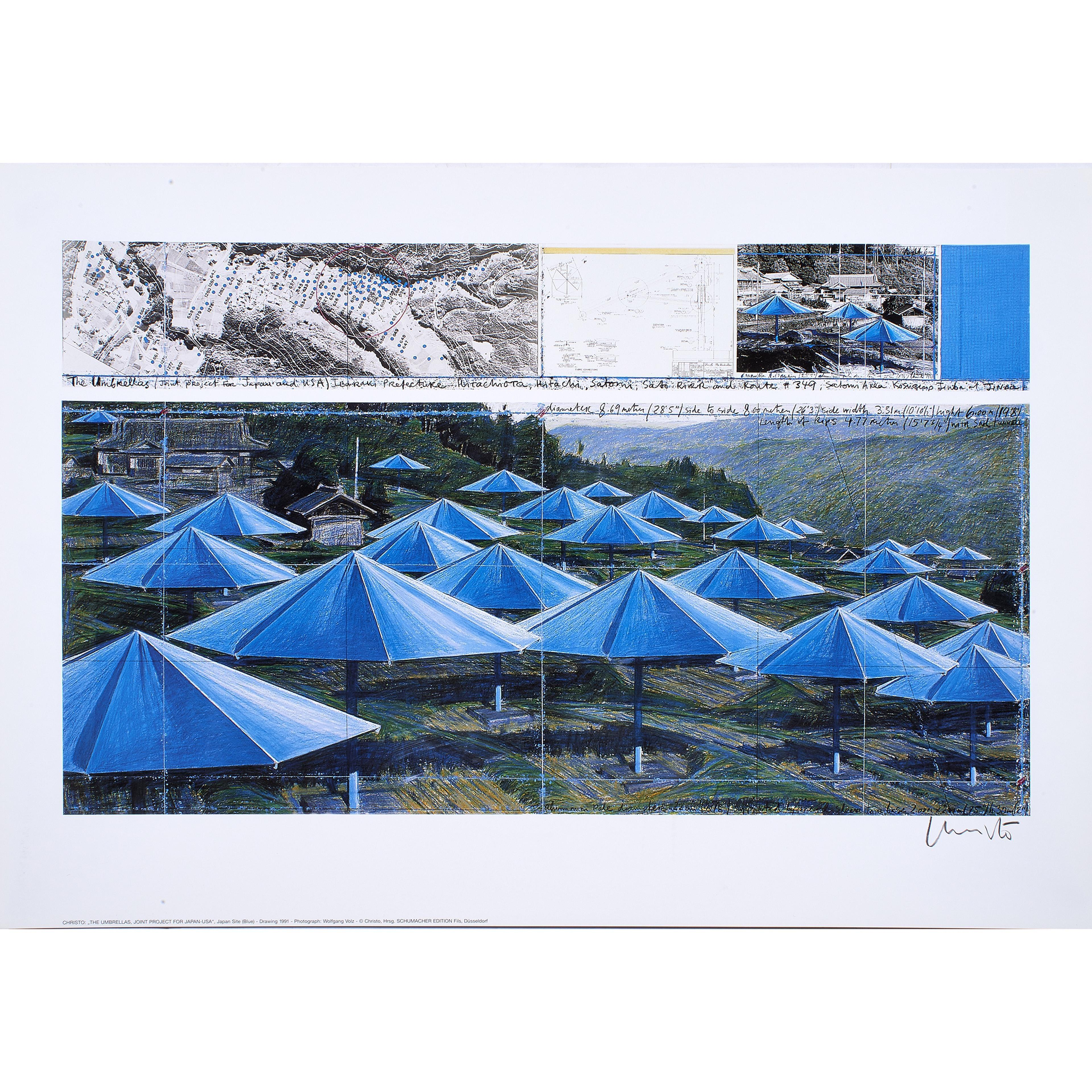 Christo 'The Umbrellas - Joint Project for Japan and USA' (Blue) Signed Print