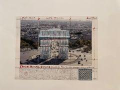 L'Arc de Triomphe, wrapped  - original Christo modern art lithograph Paris