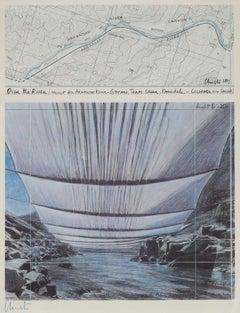 Over the River - original Christo modern art lithograph landscape Arkansas river