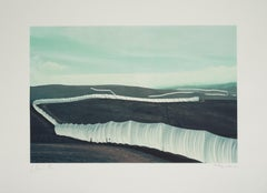 Running Fence - original Christo modern art lithograph of fence in California