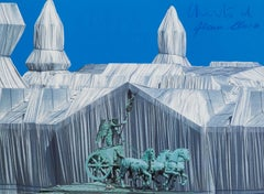 Wrapped Reichstag with Quadriga - modern lithograph by Christo building Berlin