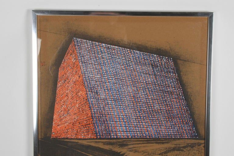 "Christo (1935-2020) Bulgarian. The TEXAS MASTABA, PROJECT FOR 500,000 STACKED OIL DRUMS (S. 85), 1976, color lithograph & screenprint collage on 1/8"" brown board, signed and numbered 45/200 in pencil, printed by Styria Studios New York, published by"