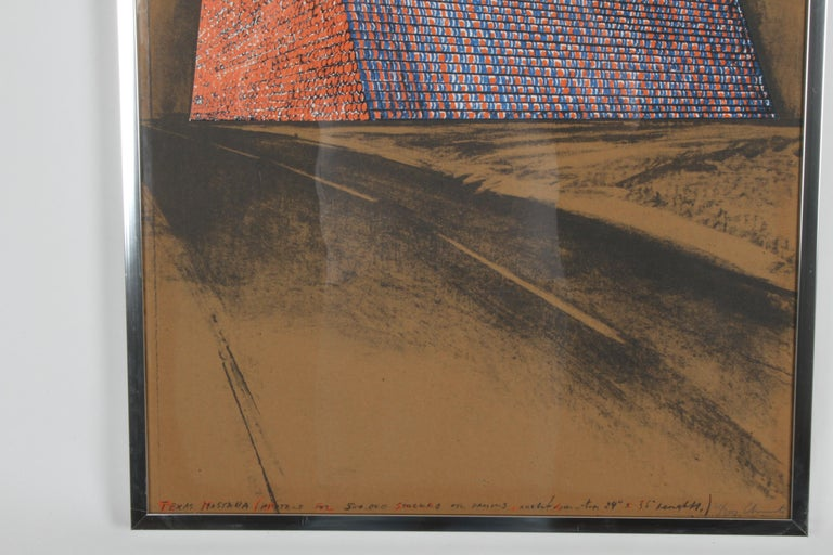 American Christo, Texas Mastra Project for 500,000 Stacked Oil Drums, Signed Lithograph For Sale