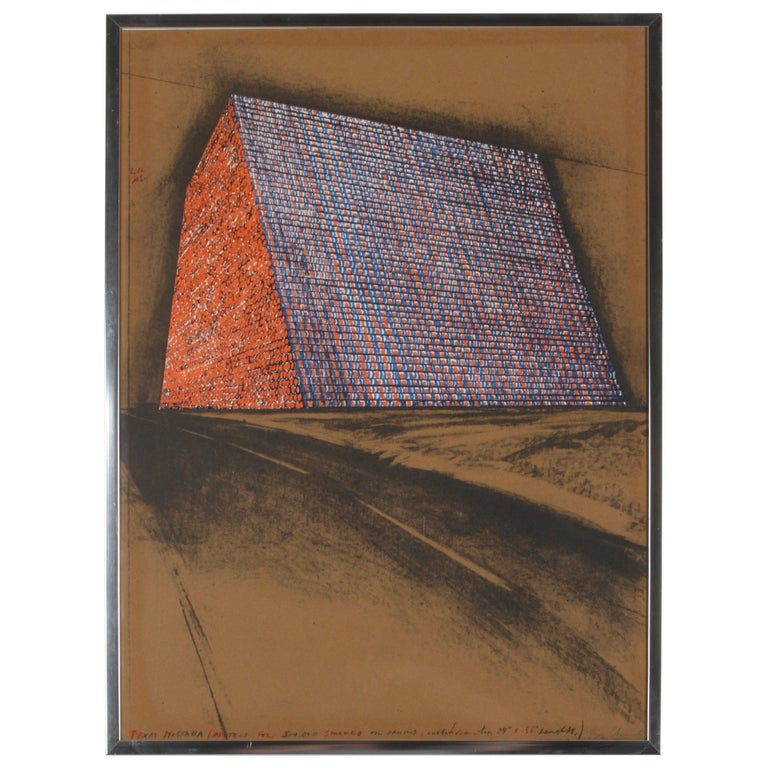 Christo, Texas Mastra Project for 500,000 Stacked Oil Drums, Signed Lithograph For Sale