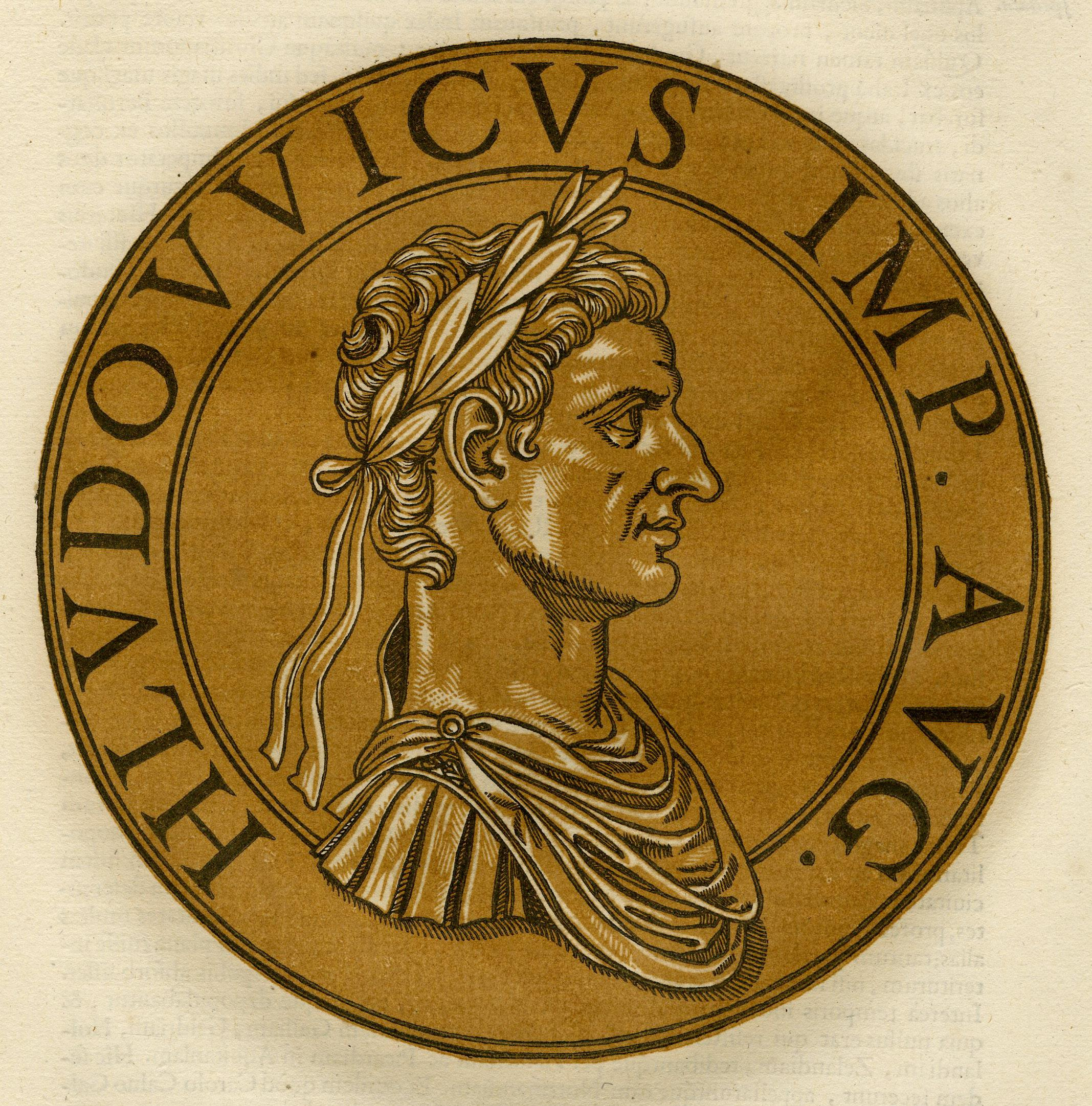 Louis I of France as a Roman Emperor, in profile to the right