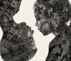 Blood ties - black and white portrait and nature multi exposure photograph