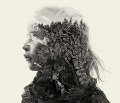 Wildy - black and white portrait and nature multi exposure photograph