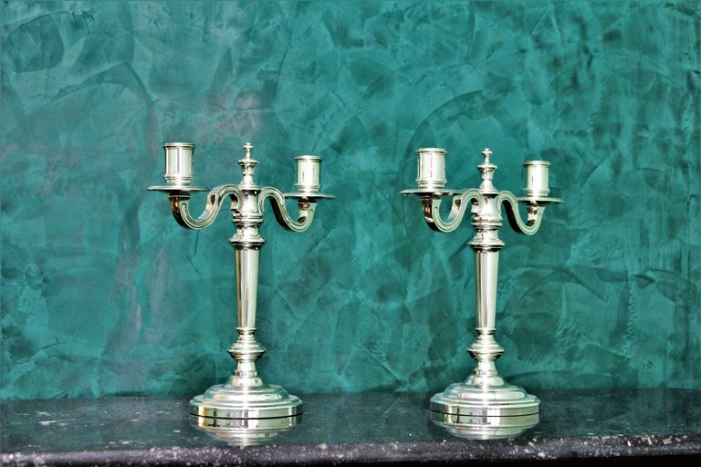 Art Deco Christofle 20th Century French Silver Plated Pair of Candlesticks, 1970s For Sale