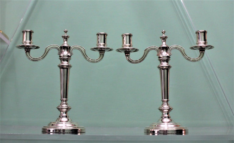 Christofle 20th Century French Silver Plated Pair of Candlesticks, 1970s In Good Condition For Sale In Florence, IT
