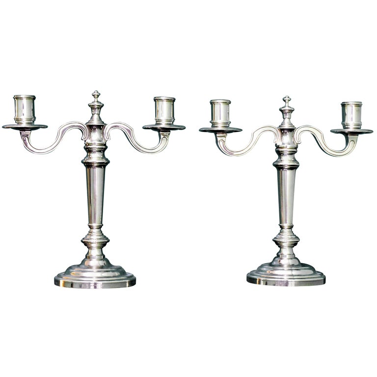 Christofle 20th Century French Silver Plated Pair of Candlesticks, 1970s For Sale